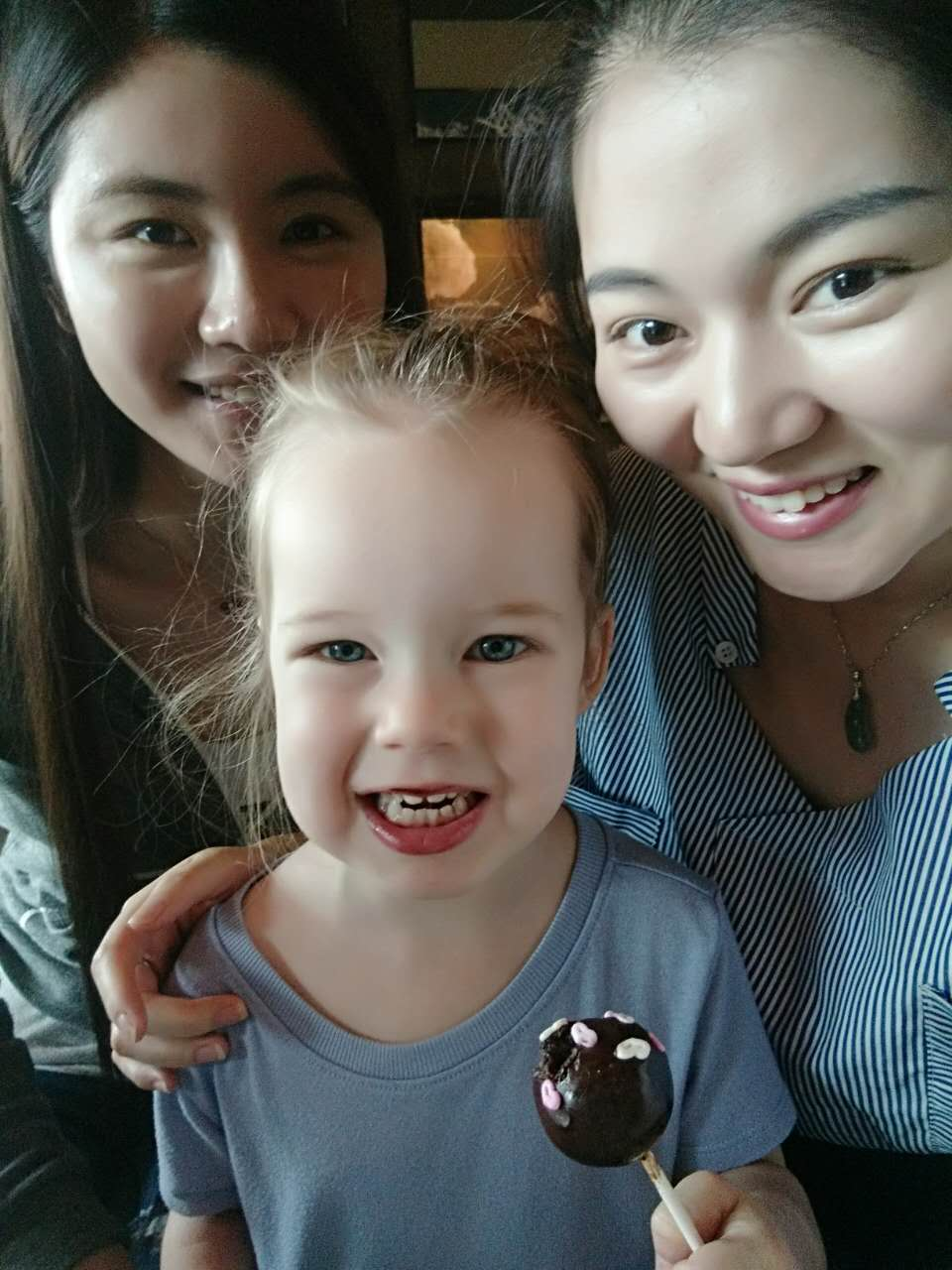 Kitty and Vicky bought Abigail a cake pop! As you can tell, she loved it. Abigail and Elisabeth are a HUGE attention grabber here because most people have never seen a foreign child. They think foreign children look like angels!