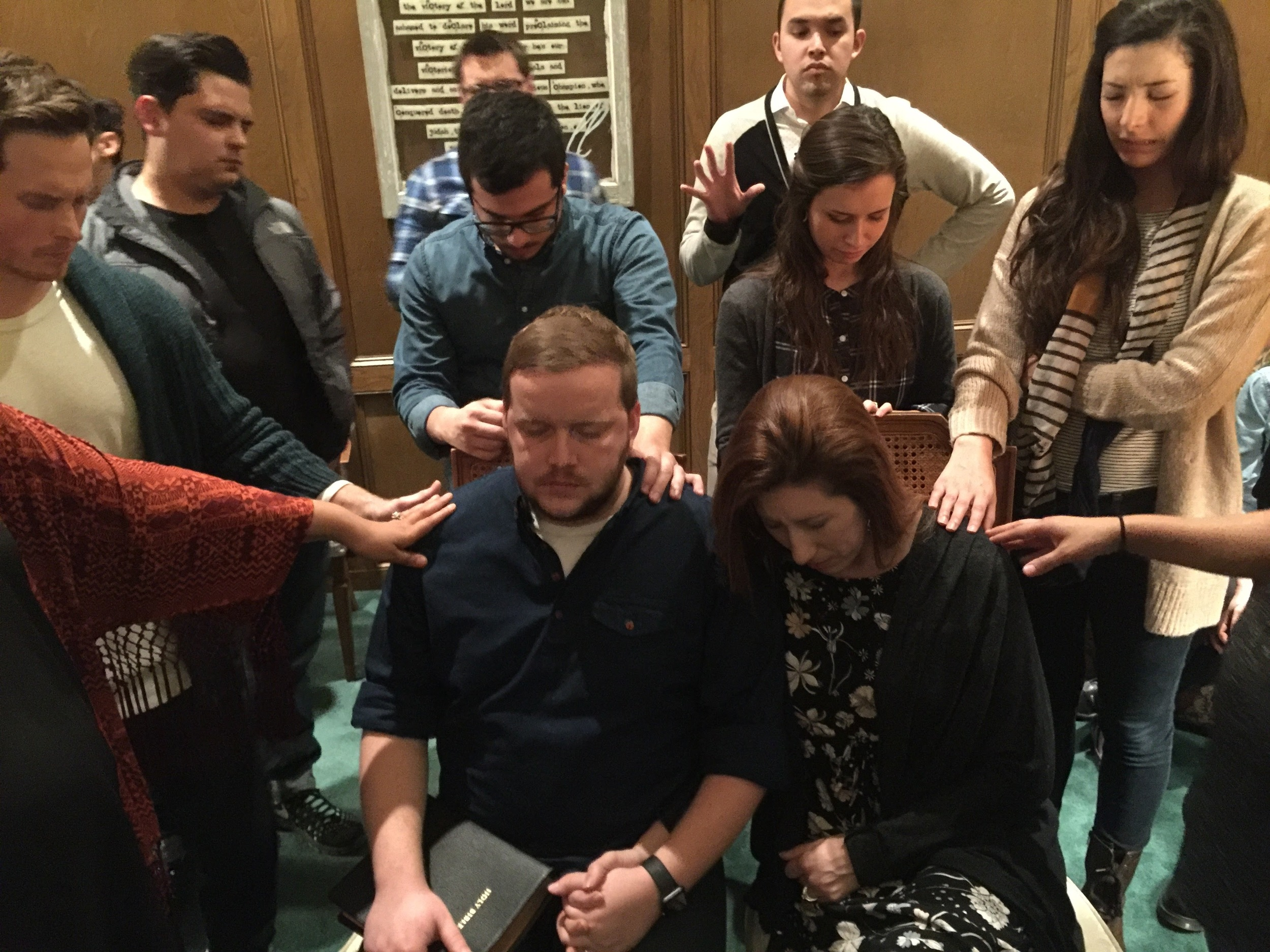 Our friends and spiritual backing praying over us before we're sent out.
