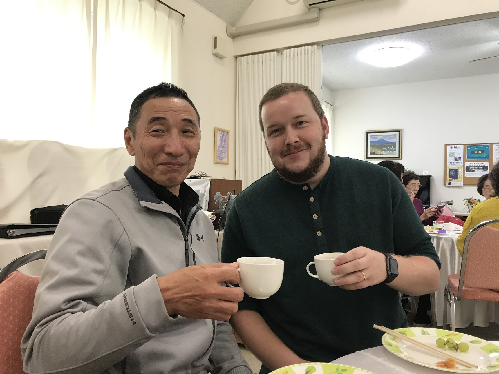My new friend, Hitoshi! We had a great discussion over coffee for several hours. He makes crosses and signs for churches and offered his help if we need it.
