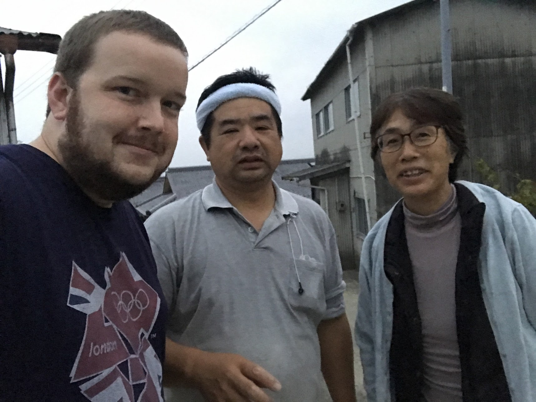 In Gojo, Nara I'm currently staying way out in the country. These are some of Joseph Cathcart's neighbors who thought I was Joseph! They had fun trying to communicate with me and showed me a huge mudslide that happened recently after the typhoon.