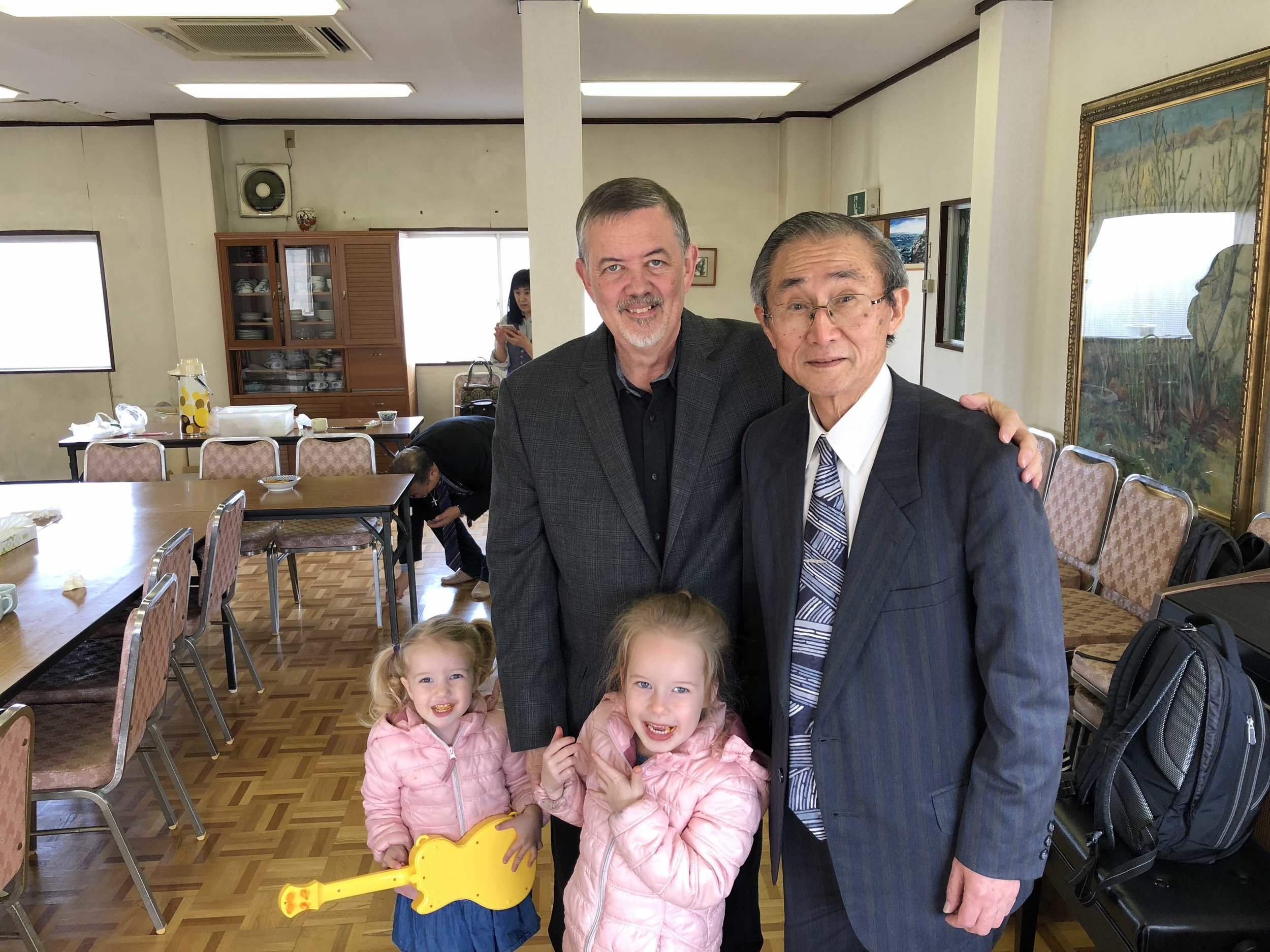 We're so glad that Bob Sayre, Bobby's dad, was able to come to Japan for two weeks to help us get settled. This was especially needed after the emotional loss of Cindy Sayre a few weeks ago.