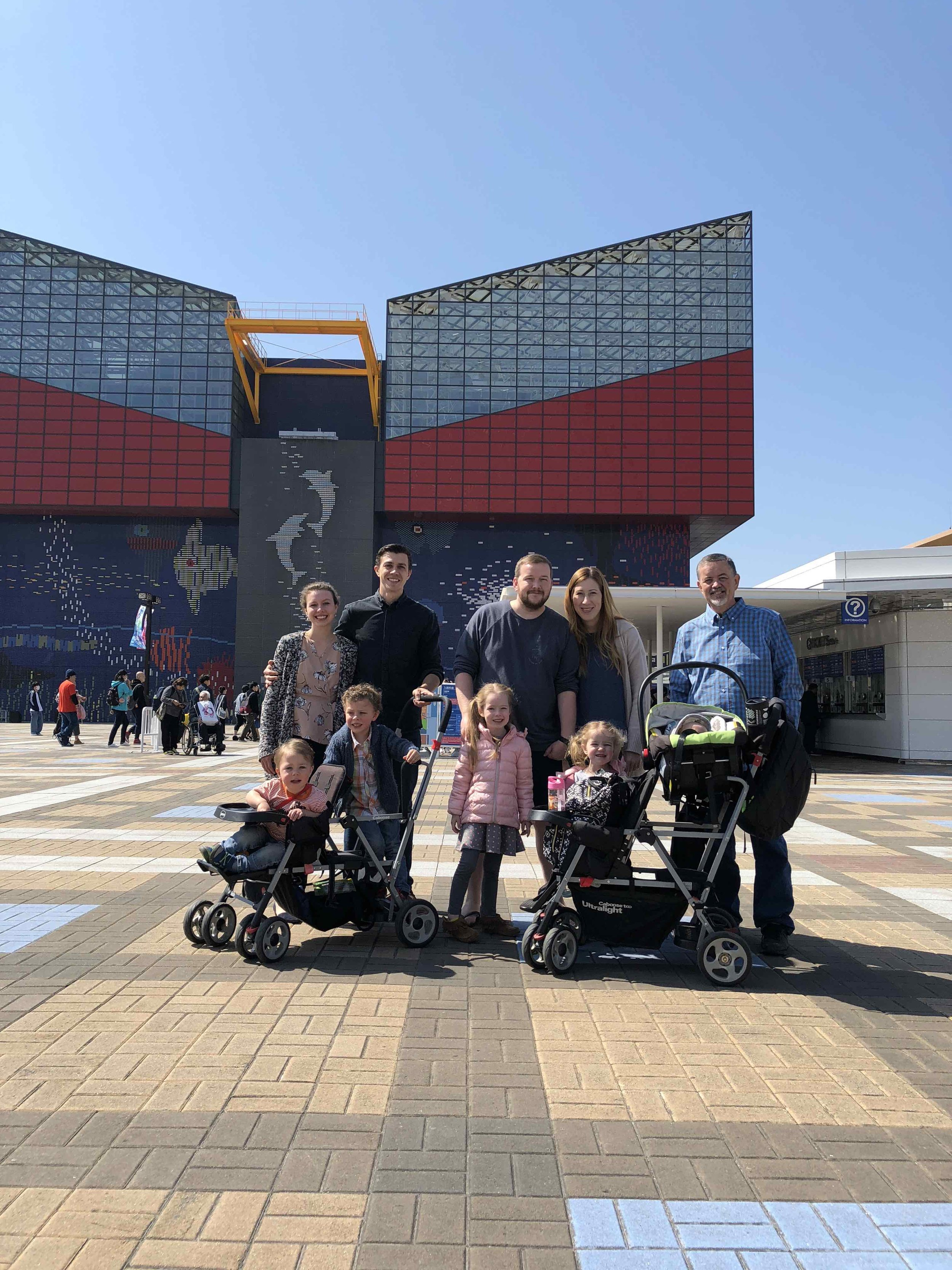 Here we are with the Cathcart family at the Osaka Aquarium, getting familiar with the metropolis of over 19 million that we'll be working in. The Cathcarts have been instrumental in helping us get settled in Japan.