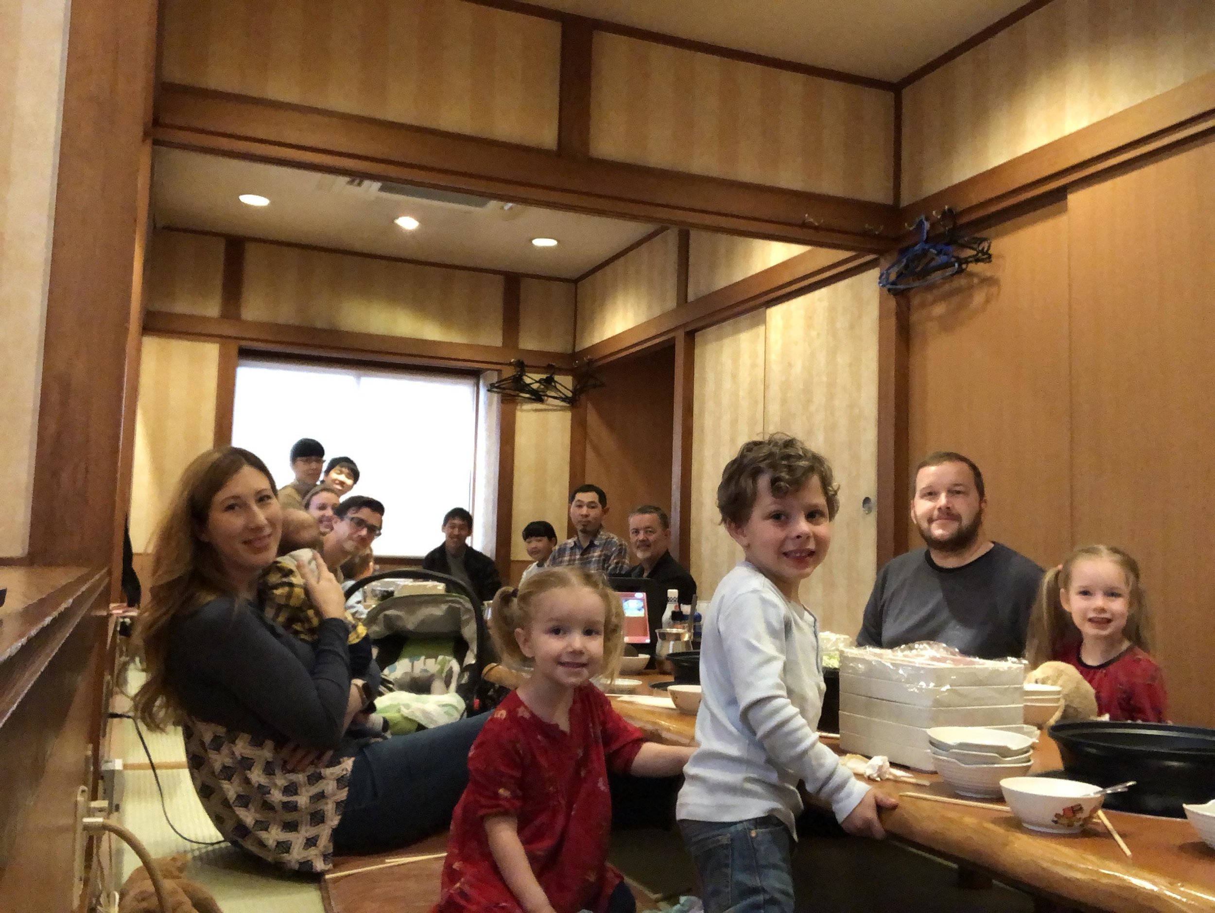Here we are sharing a traditional Japanese meal with a pastor and his family. Japanese like to eat their meals sitting down on comfortable Tatami mats.