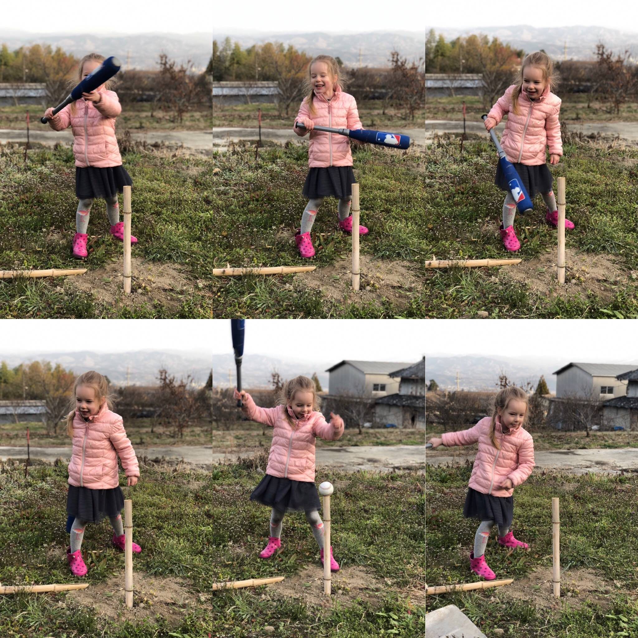 Baseball is the most popular sport in Japan. Here Abigail is trying to play some Bamboo Baseball!