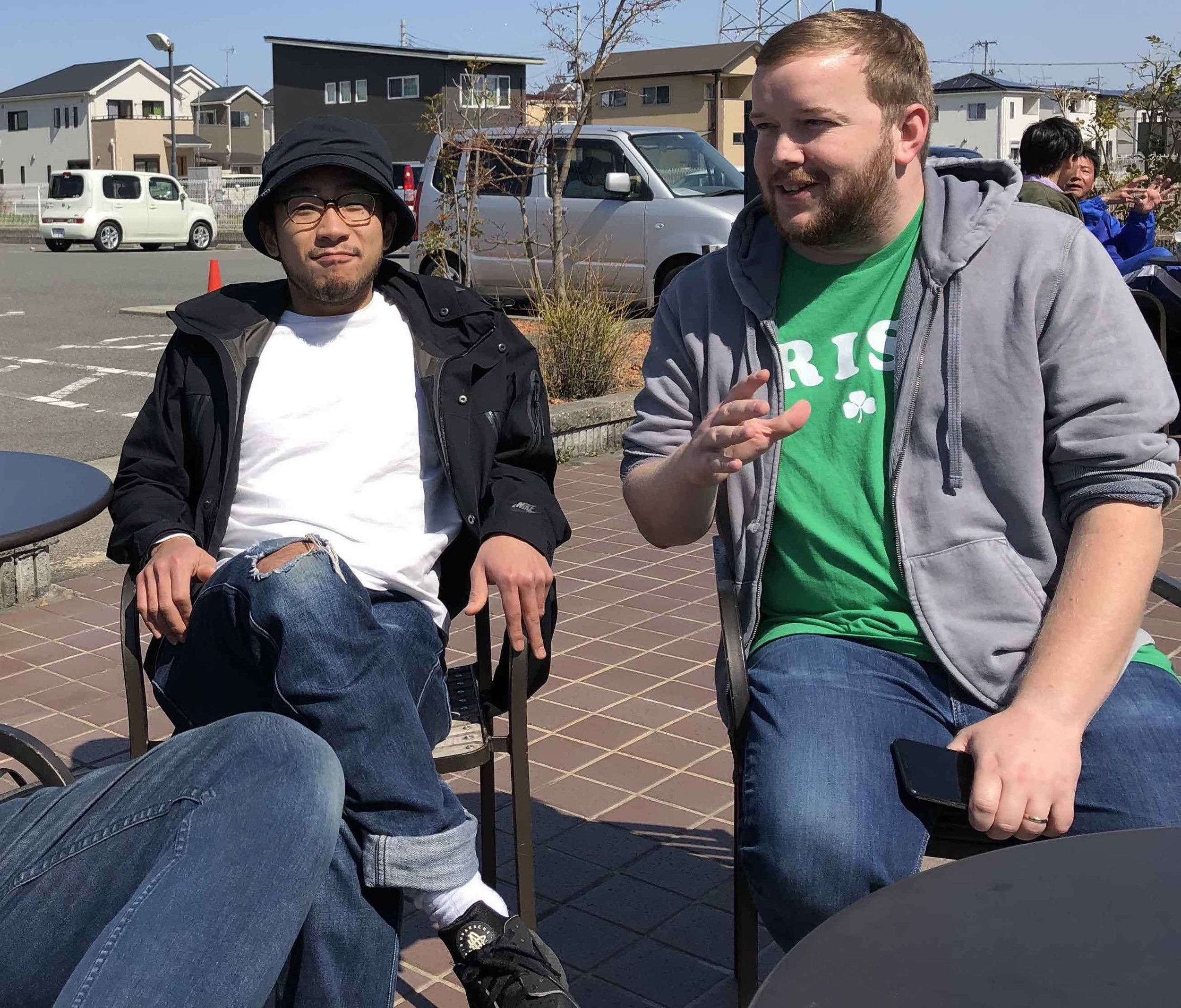 Here I am with a new friend, Takato. He lives near our new home.We have plans to grab many cups of coffee together. Pray for his salvation.