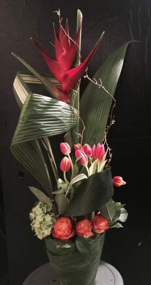 Volcano bird of paradise floral arrangment