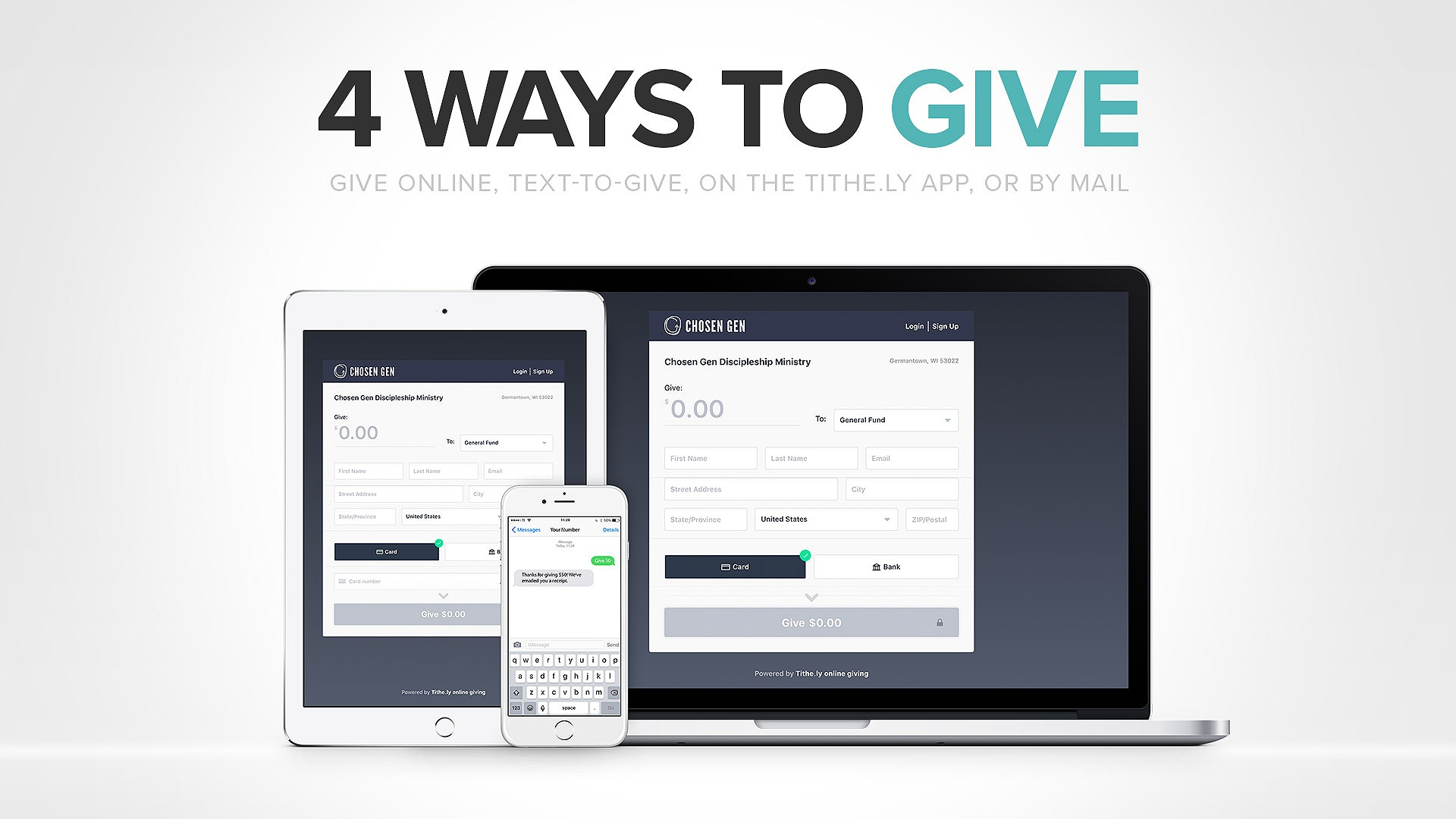 Questions about how to donate using text to give or the tithe.ly app?   View step-by-step instructions >
