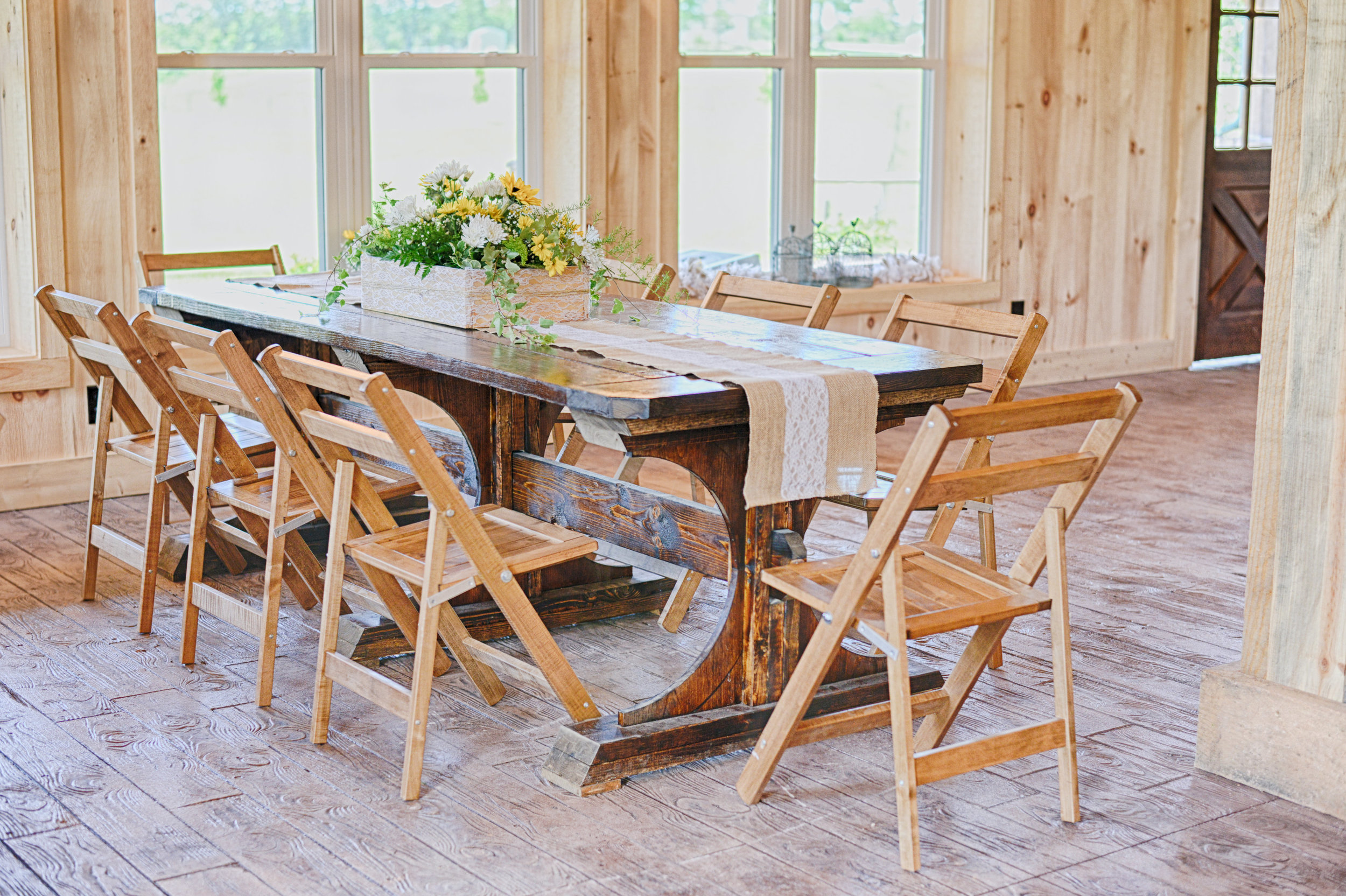 Our tables and chairs are all handmade by local craftsmen