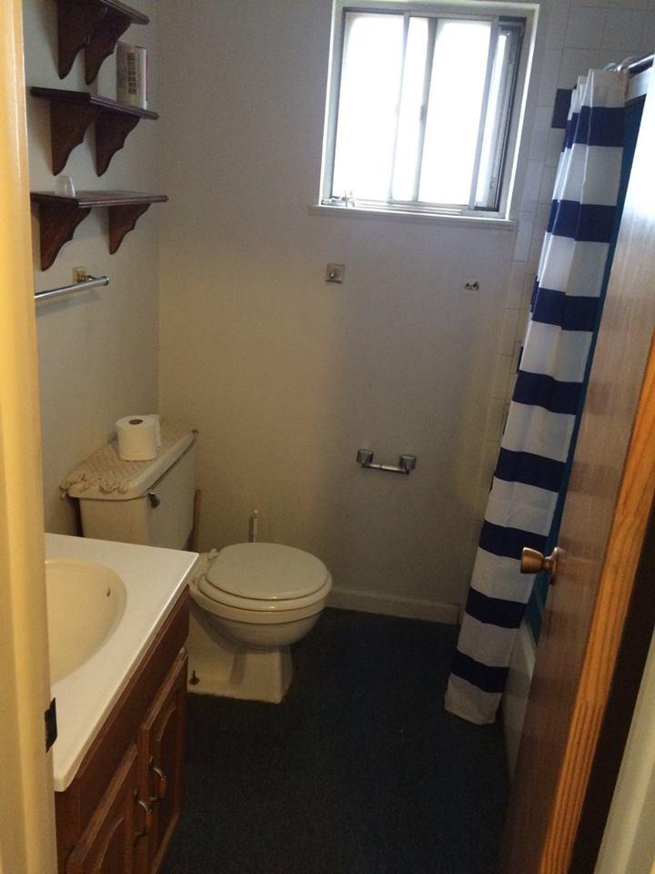 Before - Bathroom. Seriously... carpet.