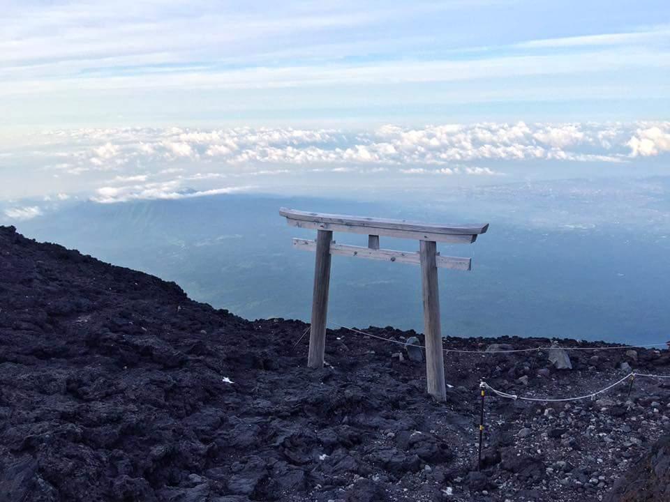 Tori gate at the top of Mt. Fuji.