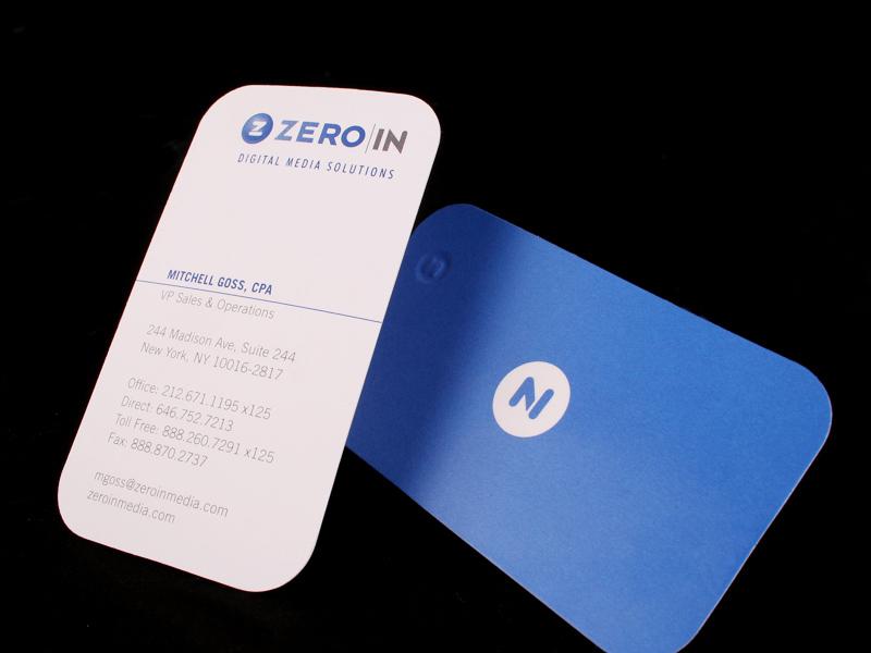 Zero In business card design