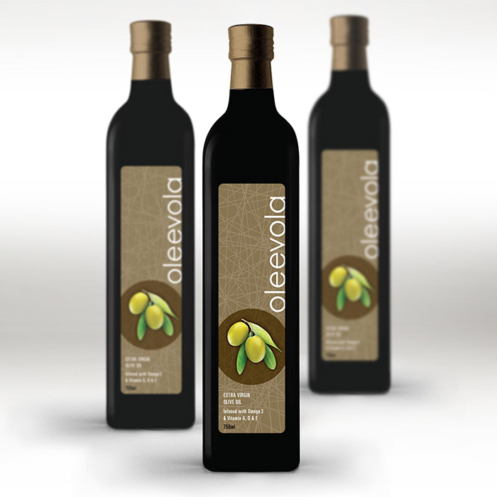 Oleevola Olive Oil label design. This design was created for a contemporary, discerning demographic.