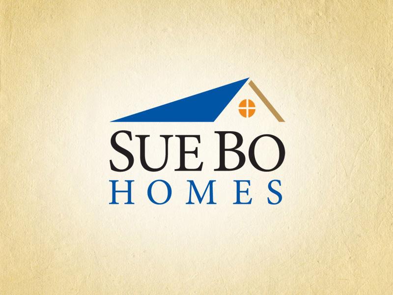 SueBo Homes real estate logo design.
