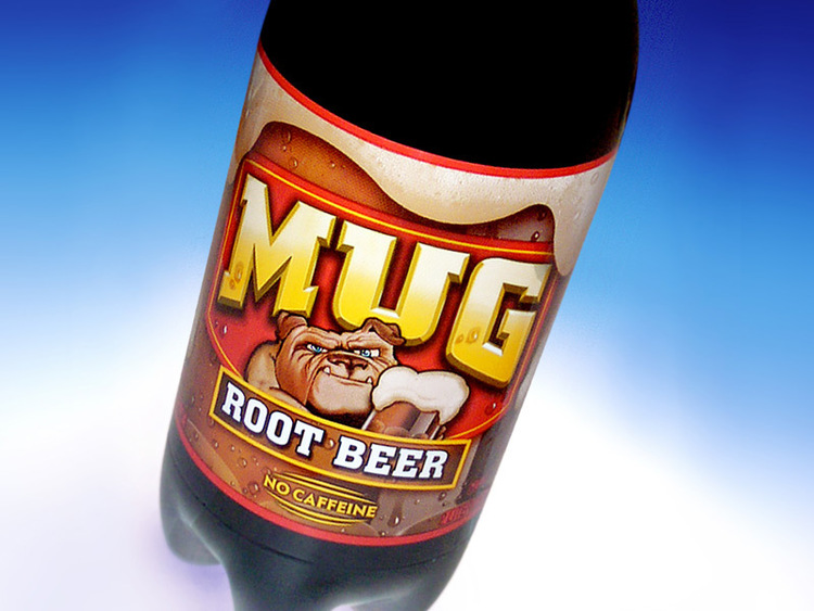 Mug Root Beer beverage label design