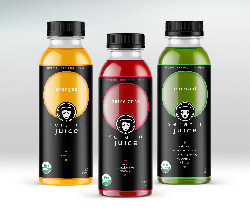 Serafin Juice Cold-Pressed Juice label design