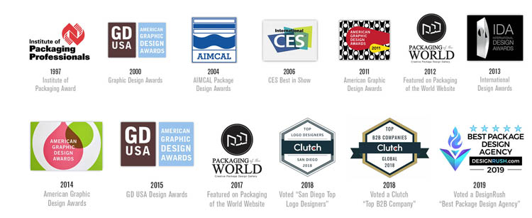 Over 20 years of graphic design award recognition.