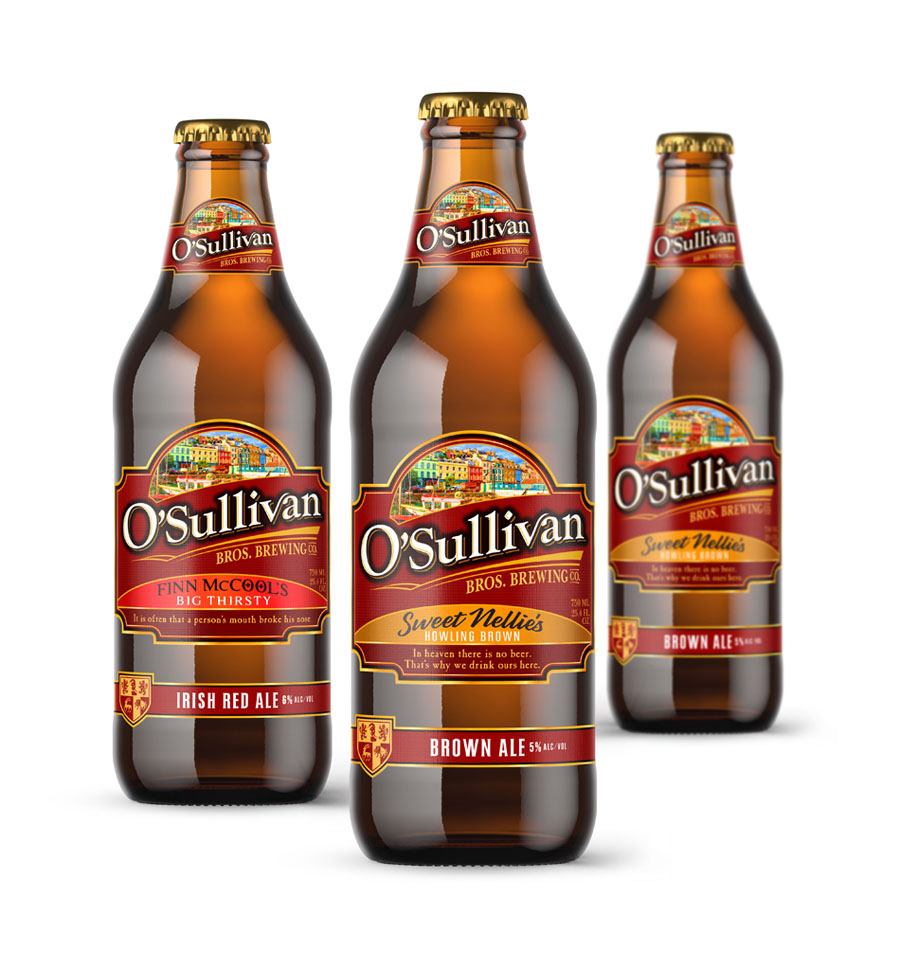 O'Sullivan Brothers beer bottle label design