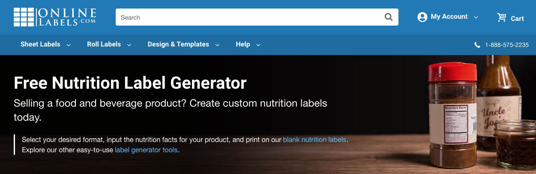 33 Nutrition Fact Label Generator