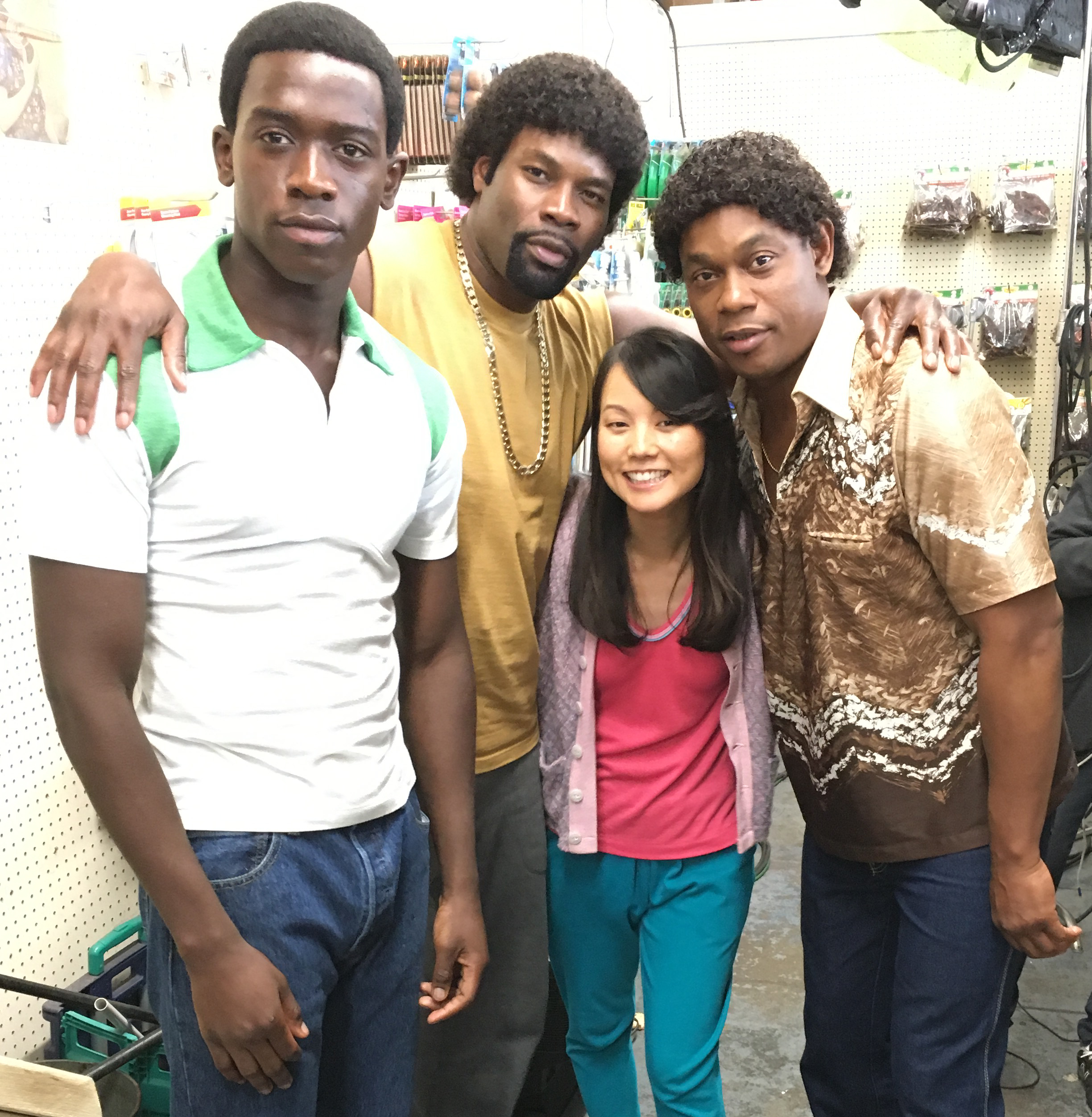 Damson Idris, Amin Joseph, and Bokeem Woodbine, my hubbie for the day!!!