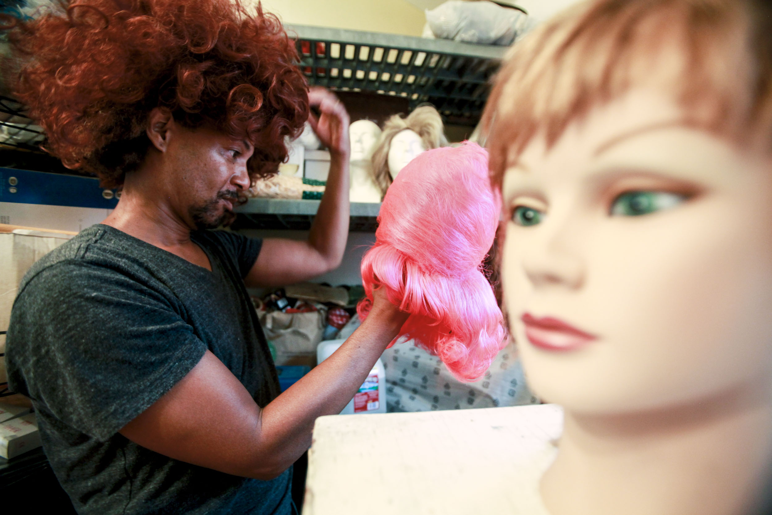 "Mitchell goes through his wig collection stored in his Ventura, Calif. home garage on Oct. 5, 2015. ""It started off as a Halloween thing. I occasionally perform at Paddy's, but I don't like doing all of those death drops and other stuff that younger drag queens do. I mean, I'm 55 years old. I like doing simple movements."""