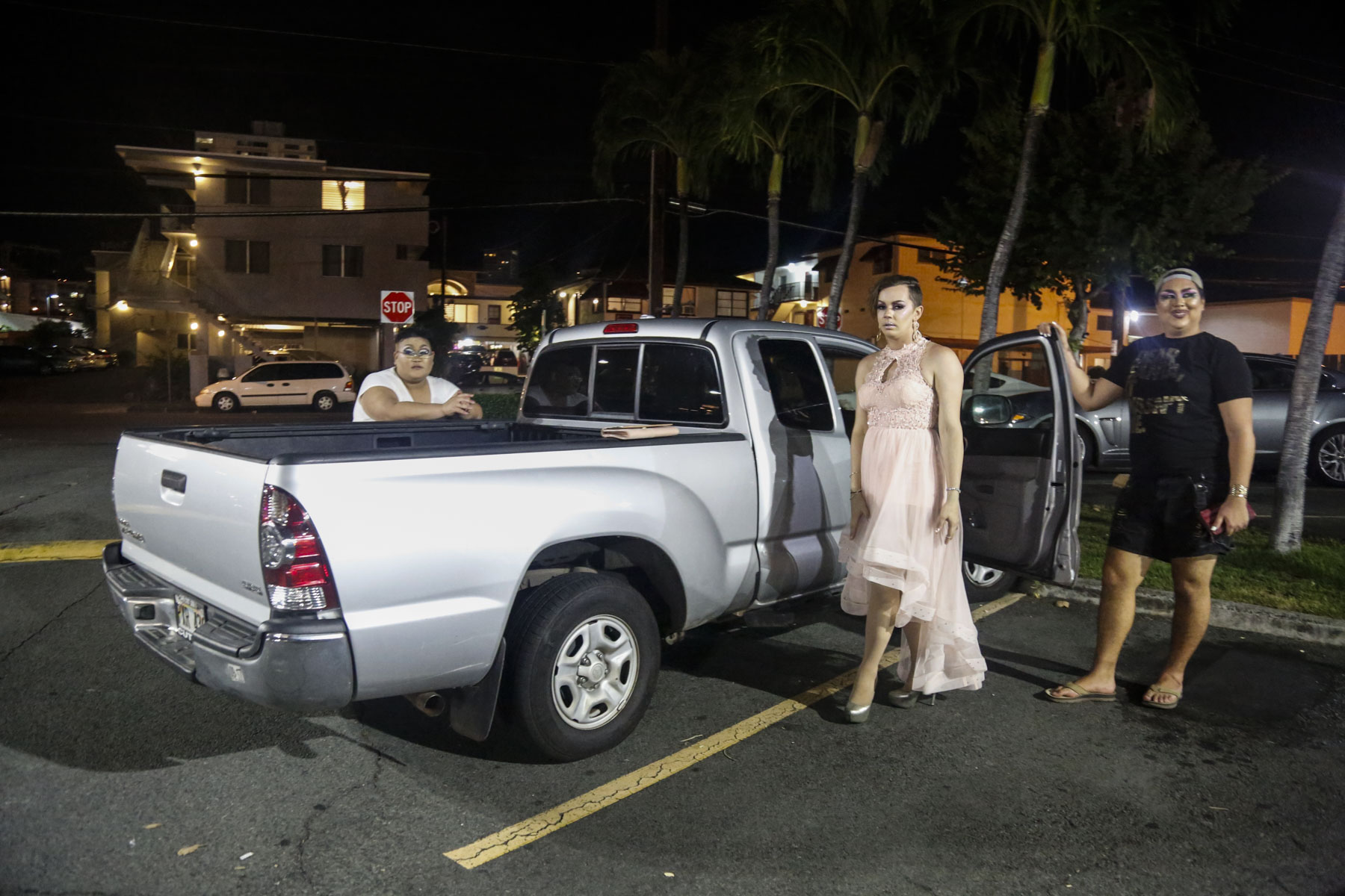(From left to right) Water Melone, Aria Del Rey and Apple Aday pose for a portrait in front of Water Melone's truck at Zippy's in Makiki, HI after Drag Prom.