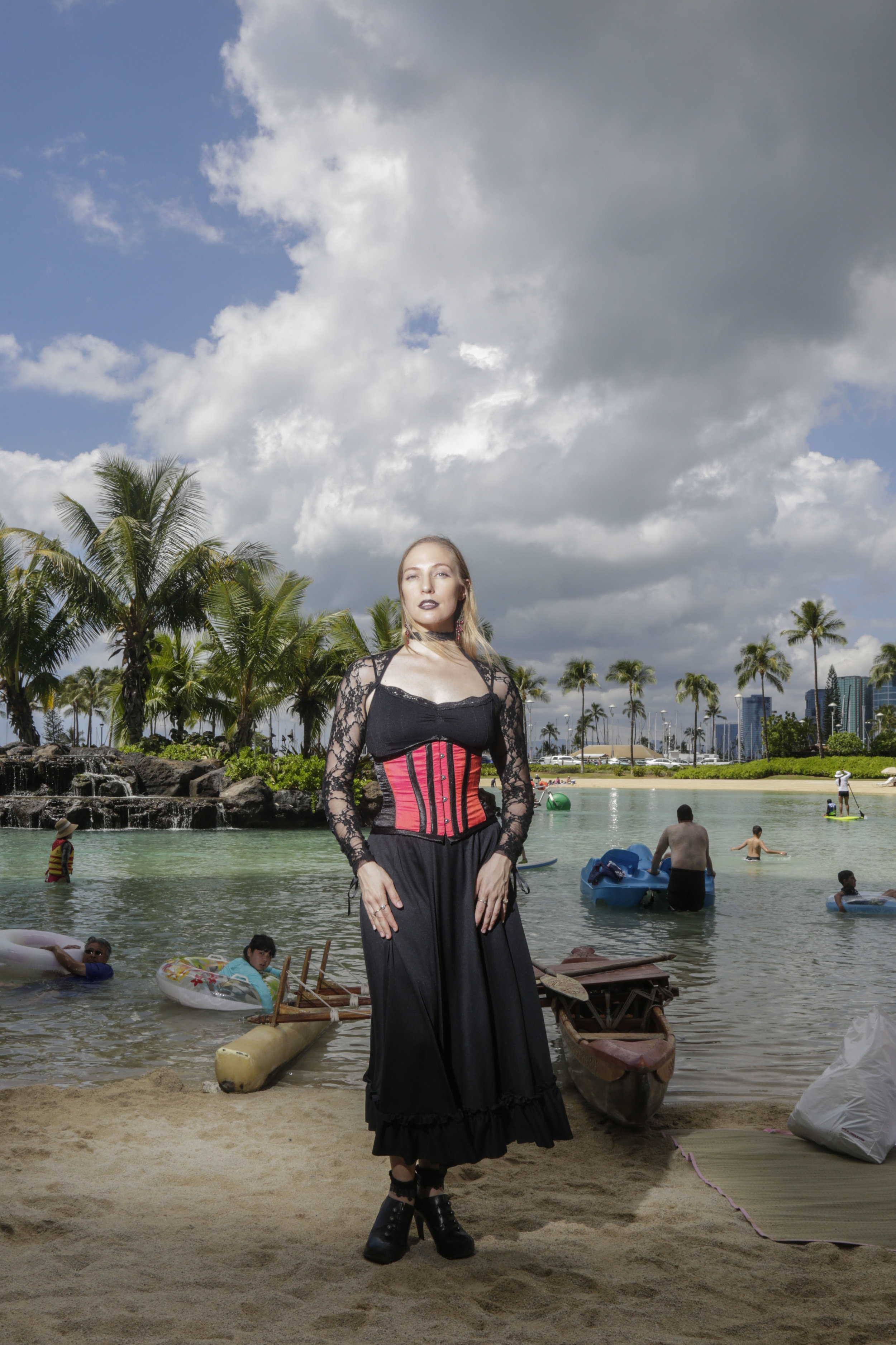 "Rose Wolfe, 30, photographed at the Hilton Hawaiian Village in Waikiki, HI. ""Goth/dark is a mind set. It's finding beauty and acceptance in things that aren't normal or common. It doesn't have to be represented in your style or the music that you listen to. You don't have to prove yourself to be goth. You just have to be you."""