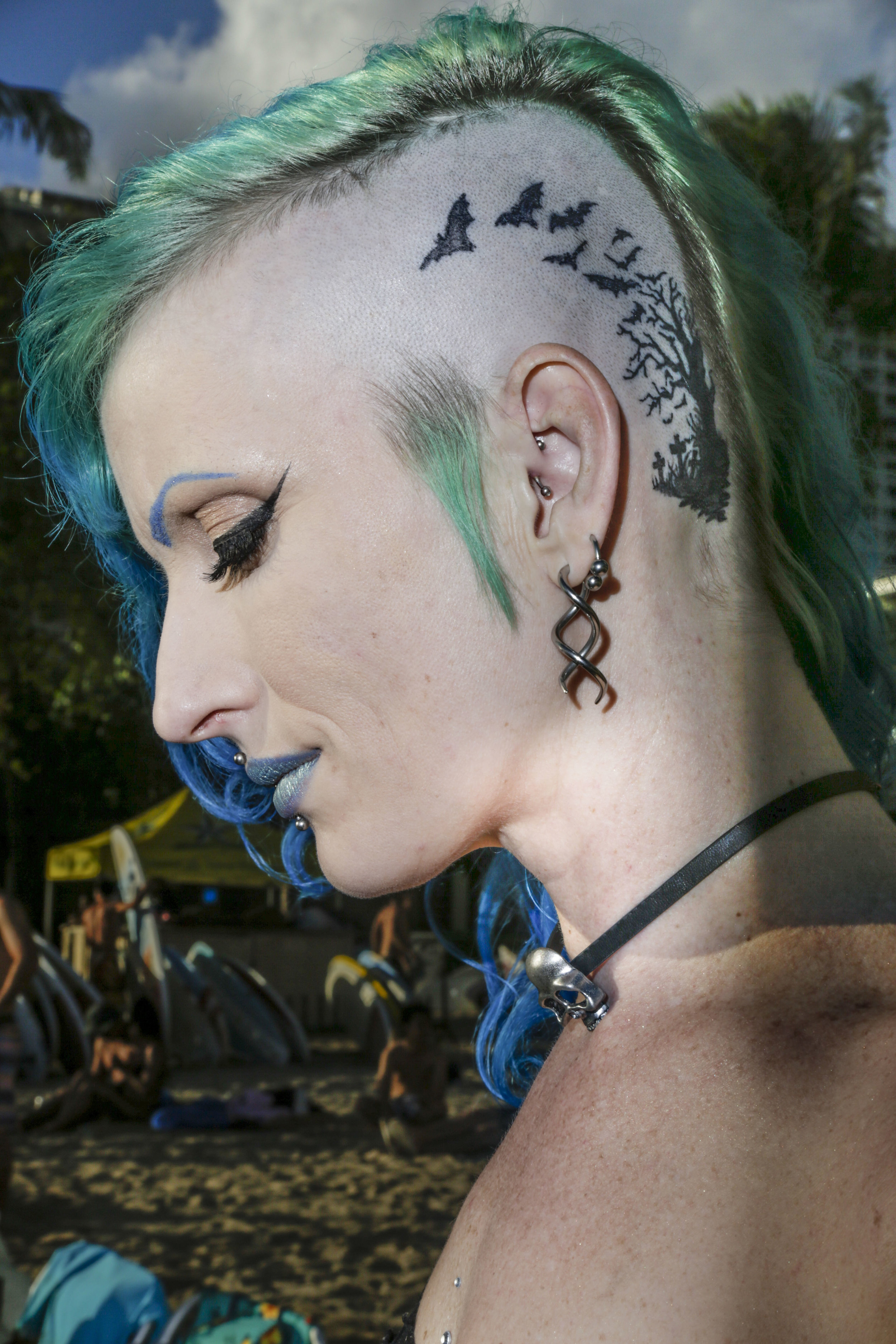 "Indica Torture, 37, photographed in Waikiki, HI.  ""I wear my freak on the outside. It's the ones hiding it underneath layers of repression and the guise of normality you should be concerned about."""