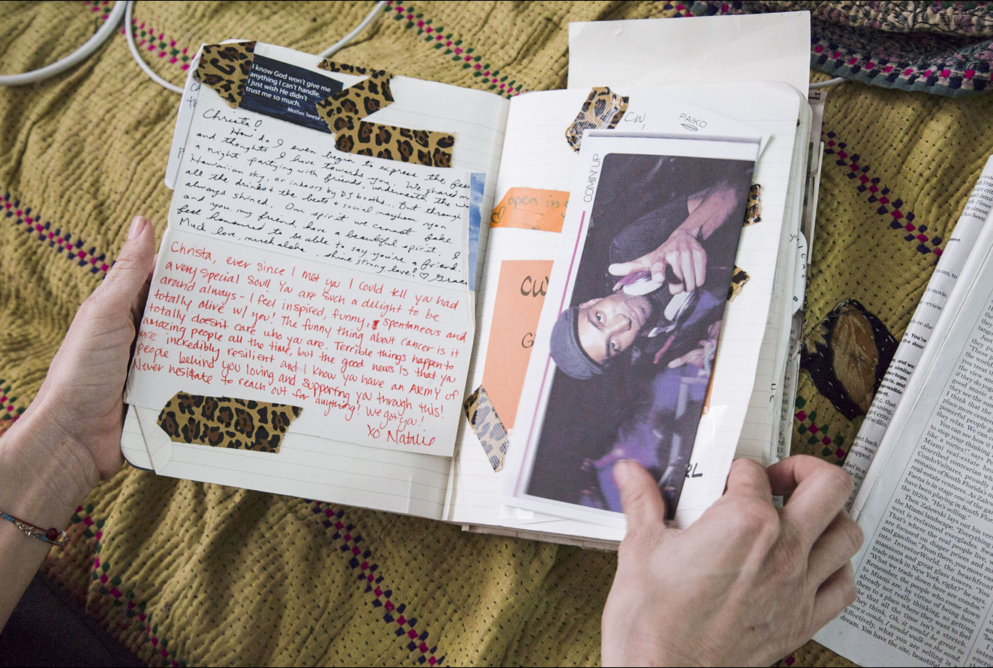A page from Wittmierʻs journal in her Honolulu, HI home. The beloved nightlife staple received an immense amount of support from her community throughout her fight with cancer. The composition book was filled with notes, photographs, and clippings from her friends and family.