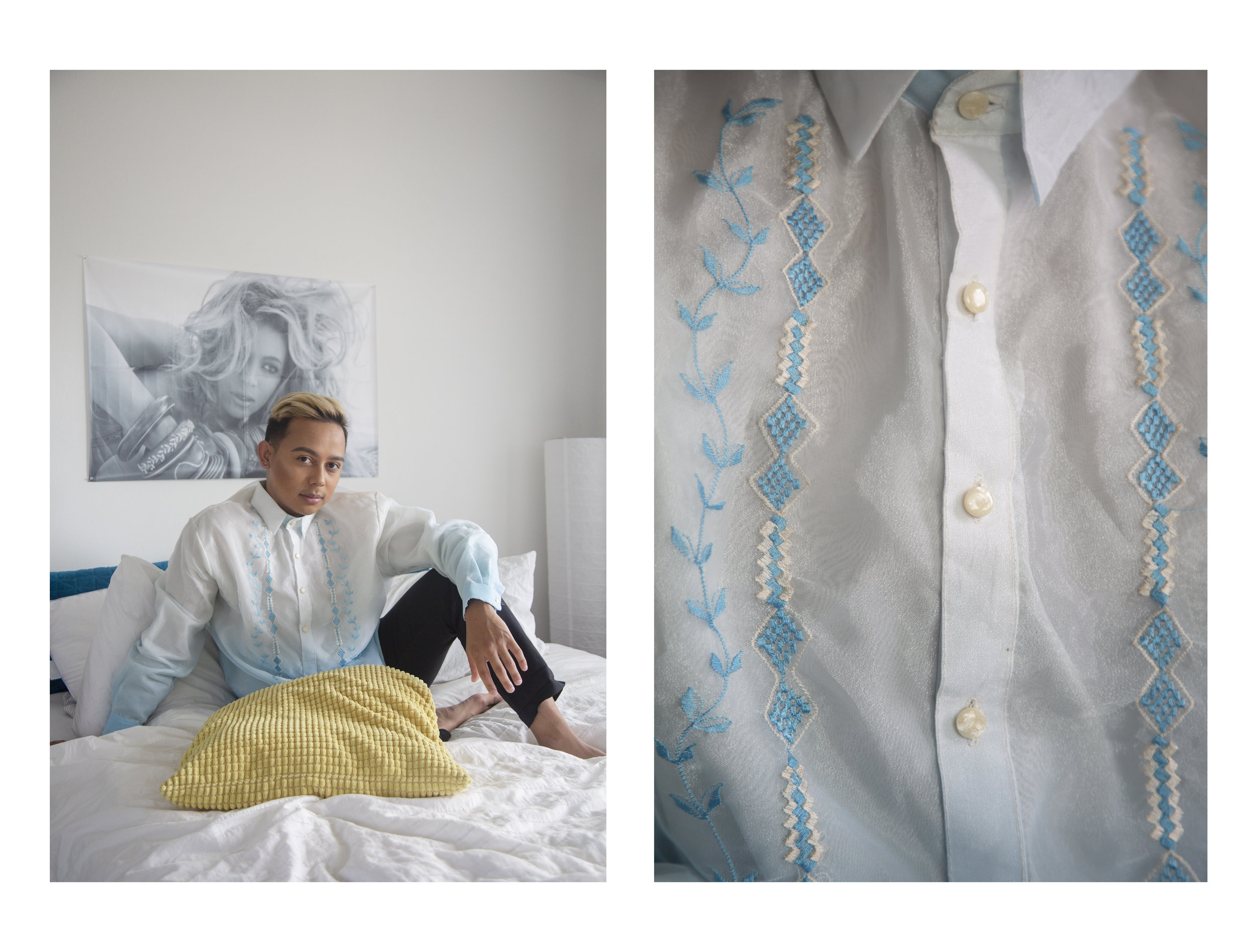 Logan Paracuelles poses for a portrait in their Wahiawa, HI home wearing a Barong Tagalog, a traditional sheer formal shirt from the Philippines.