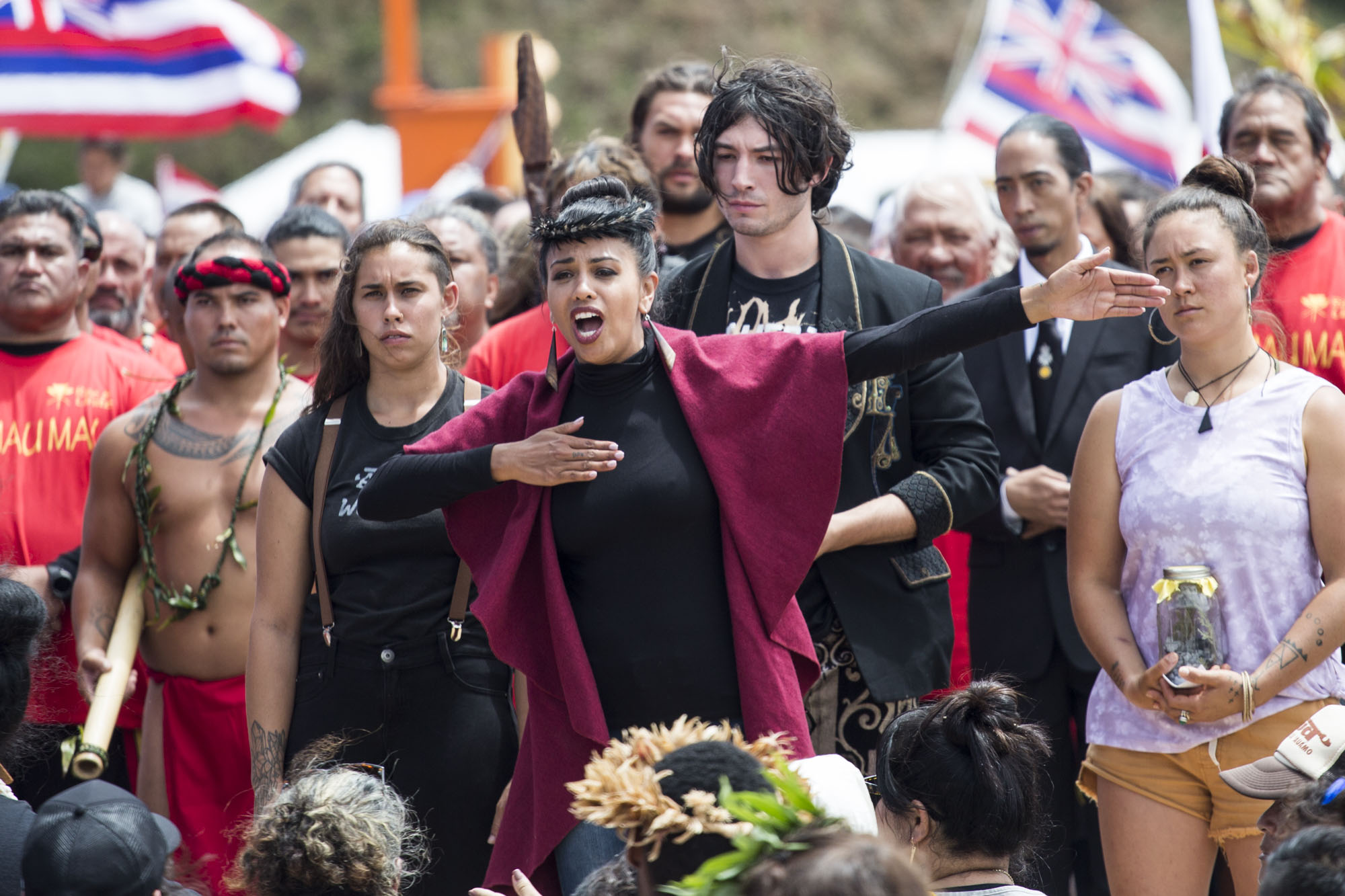Hāwane Rios, a kiaʻi who has been a part of the movement since 2010, chants before actor Ezra Miller presents their hoʻokupu to kiaʻi and Kūpuna on August 12, 2019.
