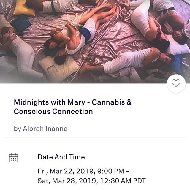 Are you an L.A. 'Mary' lover? There are 4 spaces left for tonight's Midnight with Mary - a Conscious cannabis Co-meditation and connection experience.  Good for singles and couples.  WEAR WHITE and sign up thru the EventBrite link on my profile.  Love to have you come.#cannabiscommunity #lacannabiscommunity #greengoddess #wedeepen