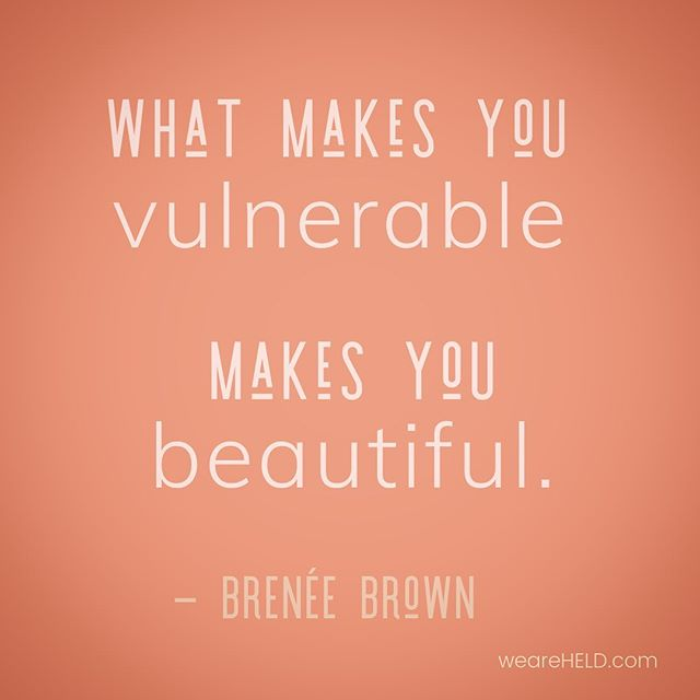 Vulnerability is a choice. For some it's natural and flows easily. For others, it takes conscious practice, commitment and courage... Here's to those who make the choice to open up, potentially feel hurt, and make themselves - and the world - more beautiful in the process ✨ . Thank you @brenebrown for continuing to move this conversation forward... 💛 . #vulnerability #intimacy #courage #weareheld