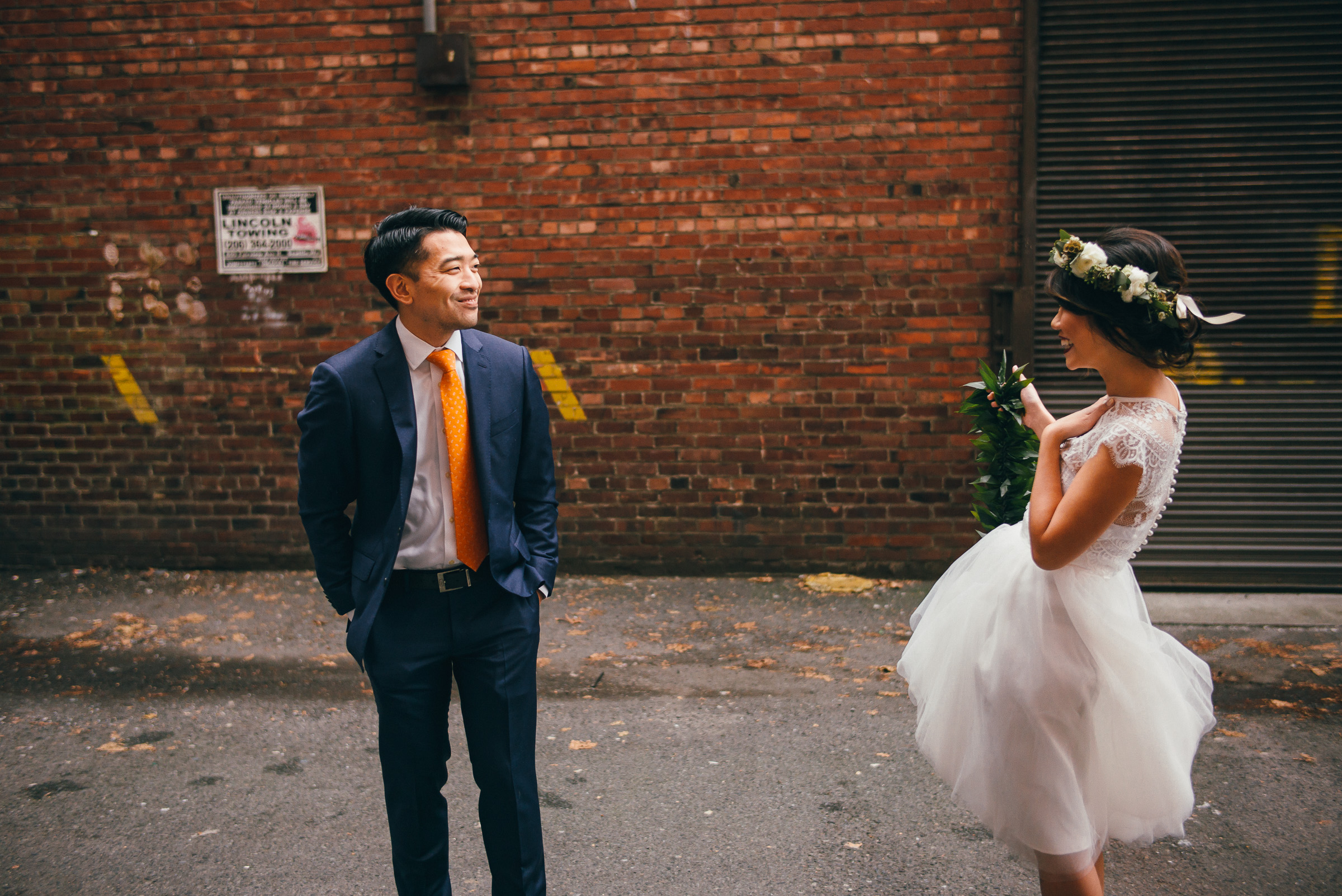Bride and Groom First Look in Pioneer Square, Seattle