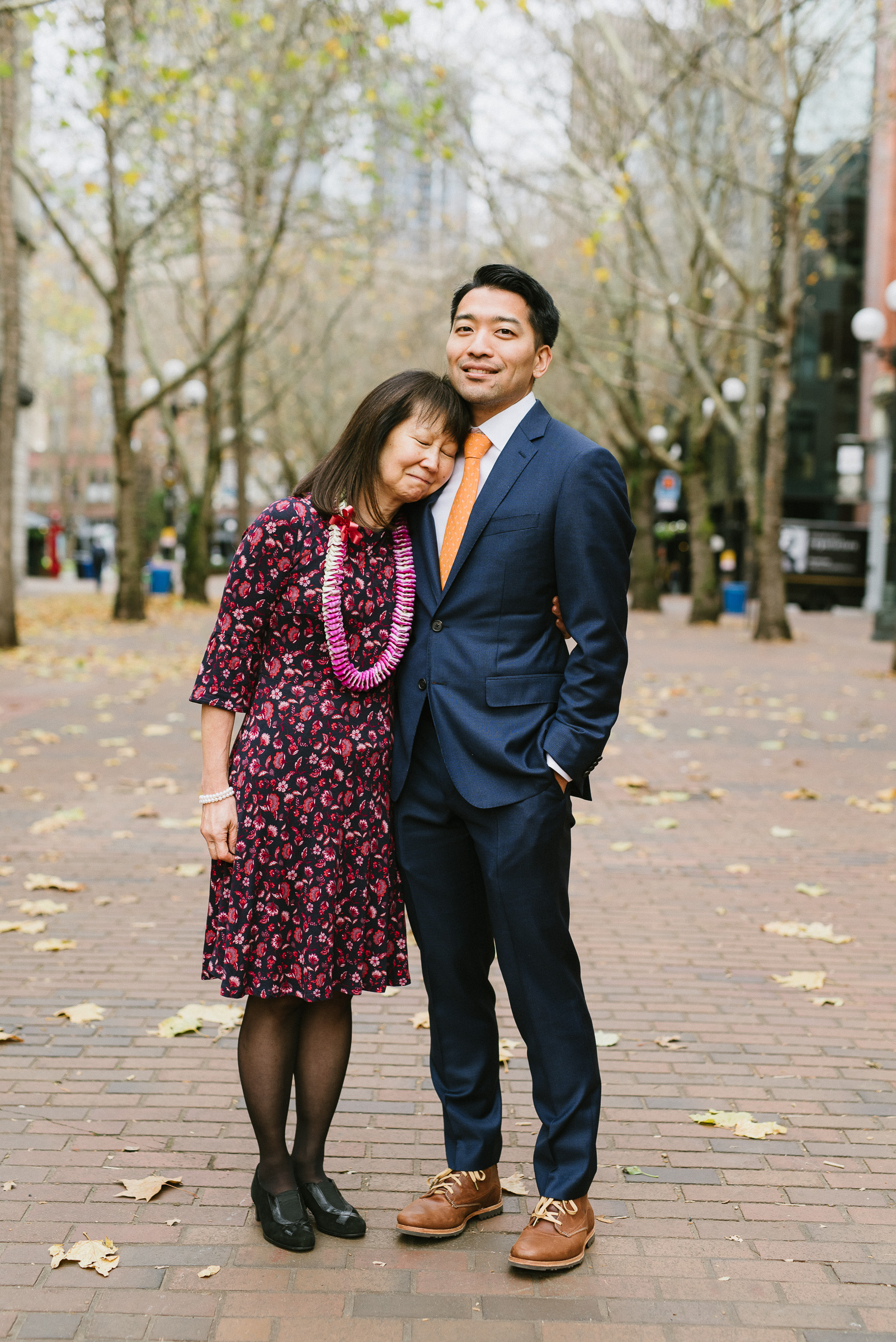 Groom and Mom Portrait in Pioneer Square, Seattle