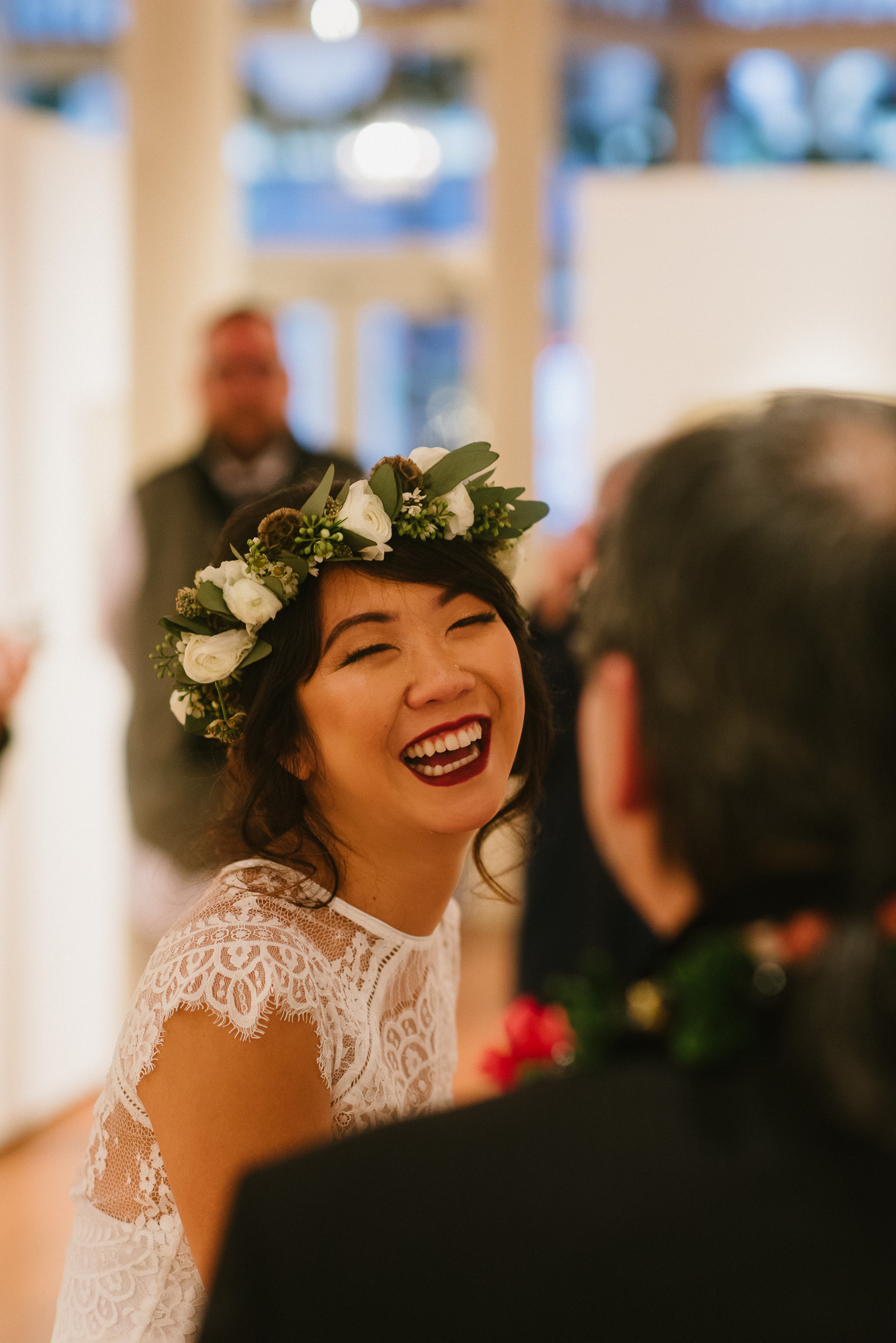 Bride Laughter during Wedding Ceremony in Pioneer Square