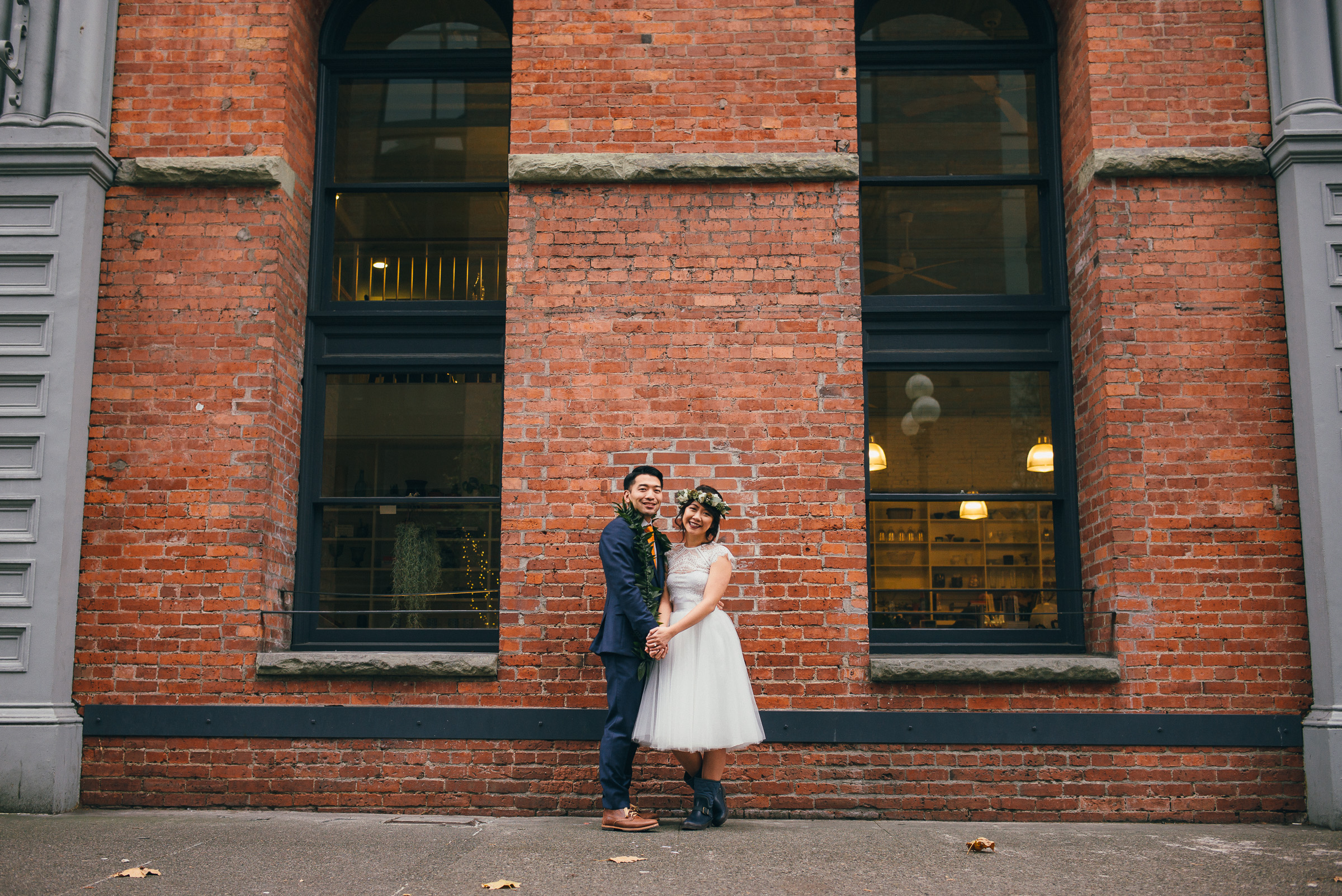 Bride and Groom Portrait on their Wedding Day in Seattle
