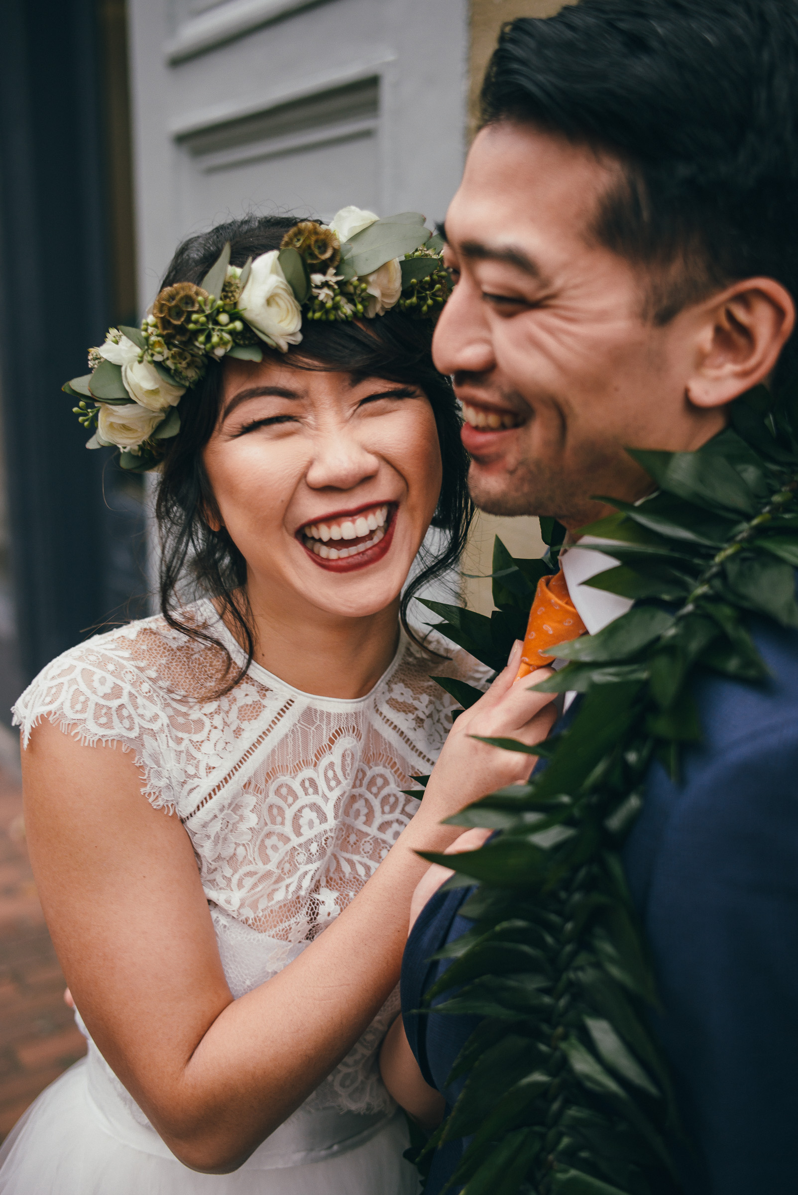 Bride and Groom Portraits on their Wedding Day in Seattle