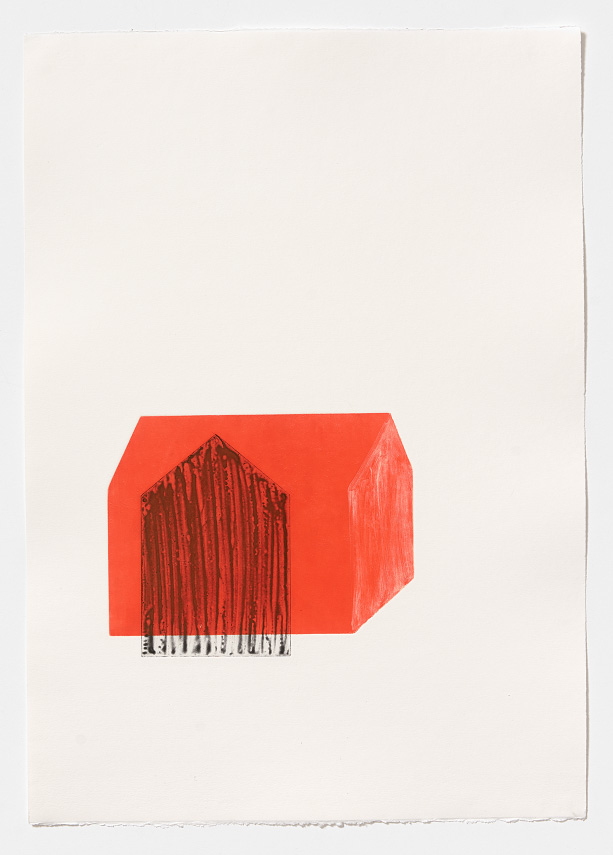 Arrangement in red I   2 plate aquatint and monoprint on Fabriano Rosapina, 70 x 50cm, 2015