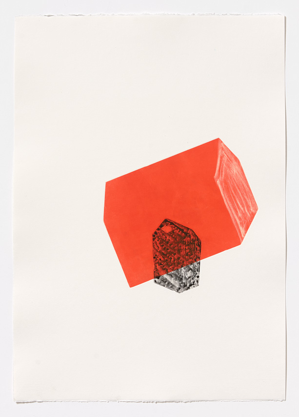 Arrangement in red II   2 plate aquatint and monoprint on Fabriano Rosapina, 70 x 50cm, 2015