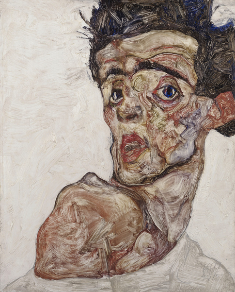 Egon Schiele, Self-Portrait with Raised Bare Shoulder, 1912 © Leopold Museum, Vienna