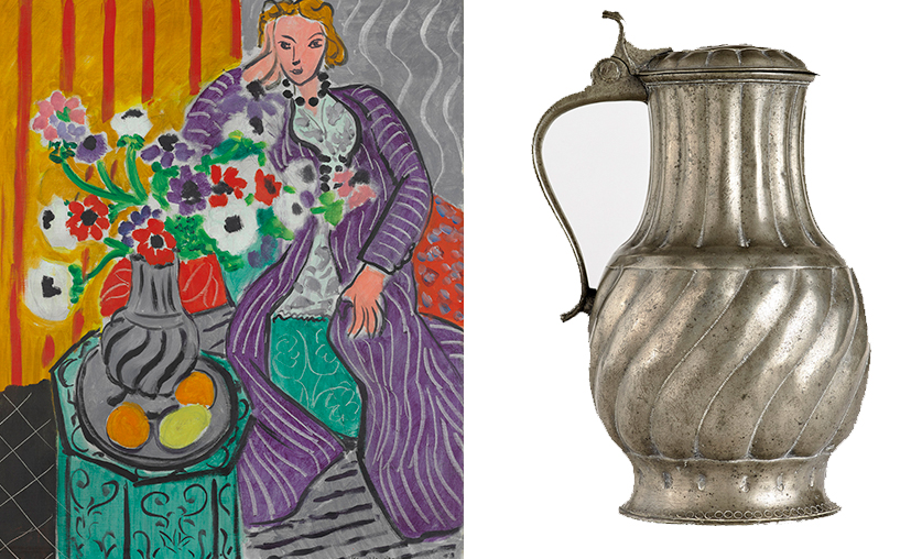Matisse, 'Purple Robe and Anemones' and the C18 pewter jug that inspired it.