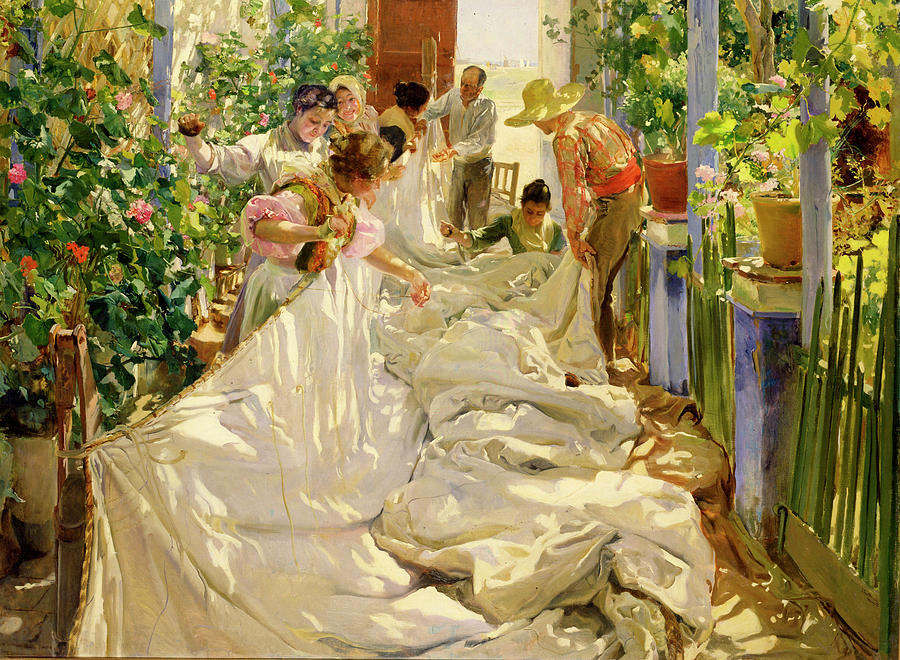 Joaquin Sorolla, Sewing the Sail (1896)