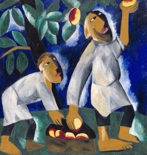 Natalia Goncharova (1881- 1962), Peasants Picking Apples 1911 (ADAGP, Paris and DACS, London 2019)