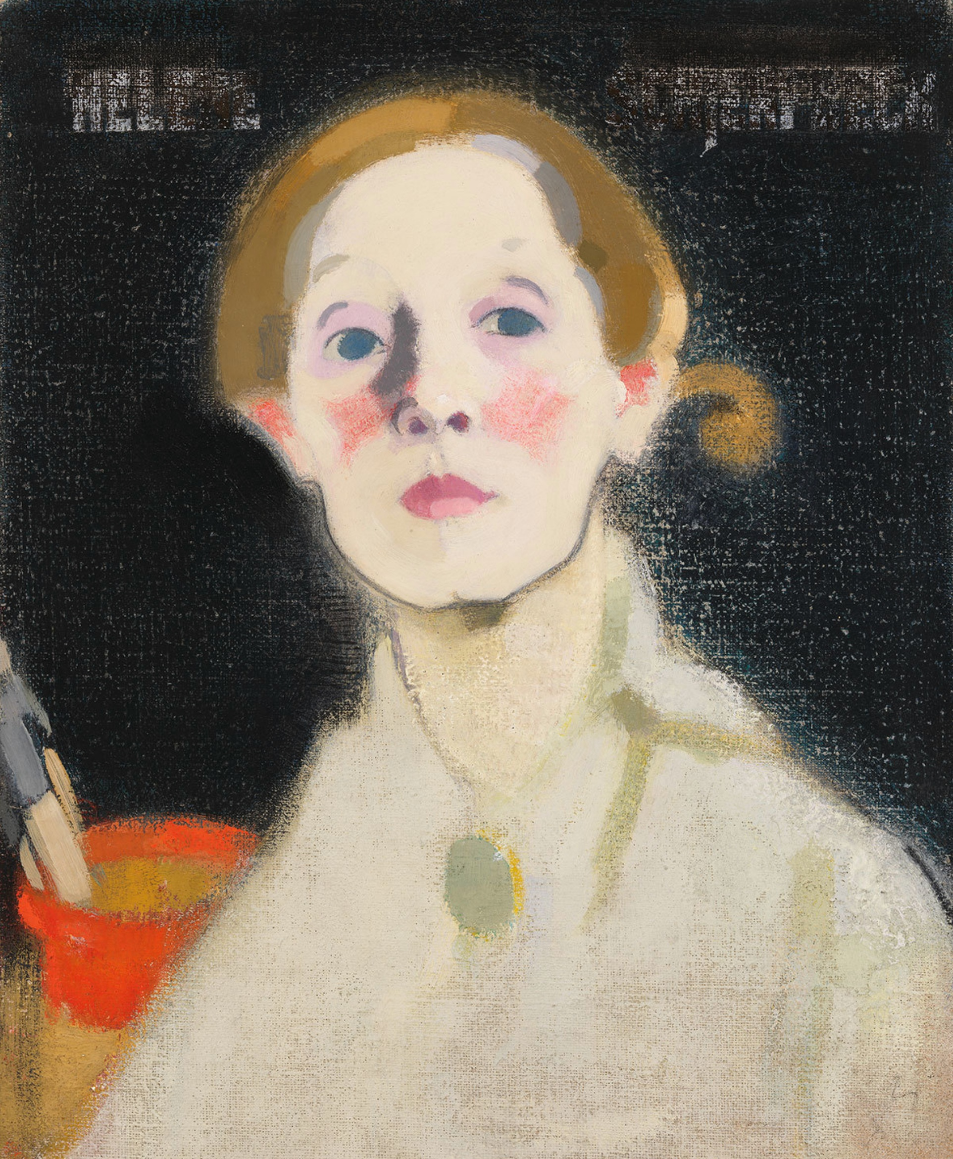 Helene Schjerfbeck,  Self-Portrait, Black Background,  1915