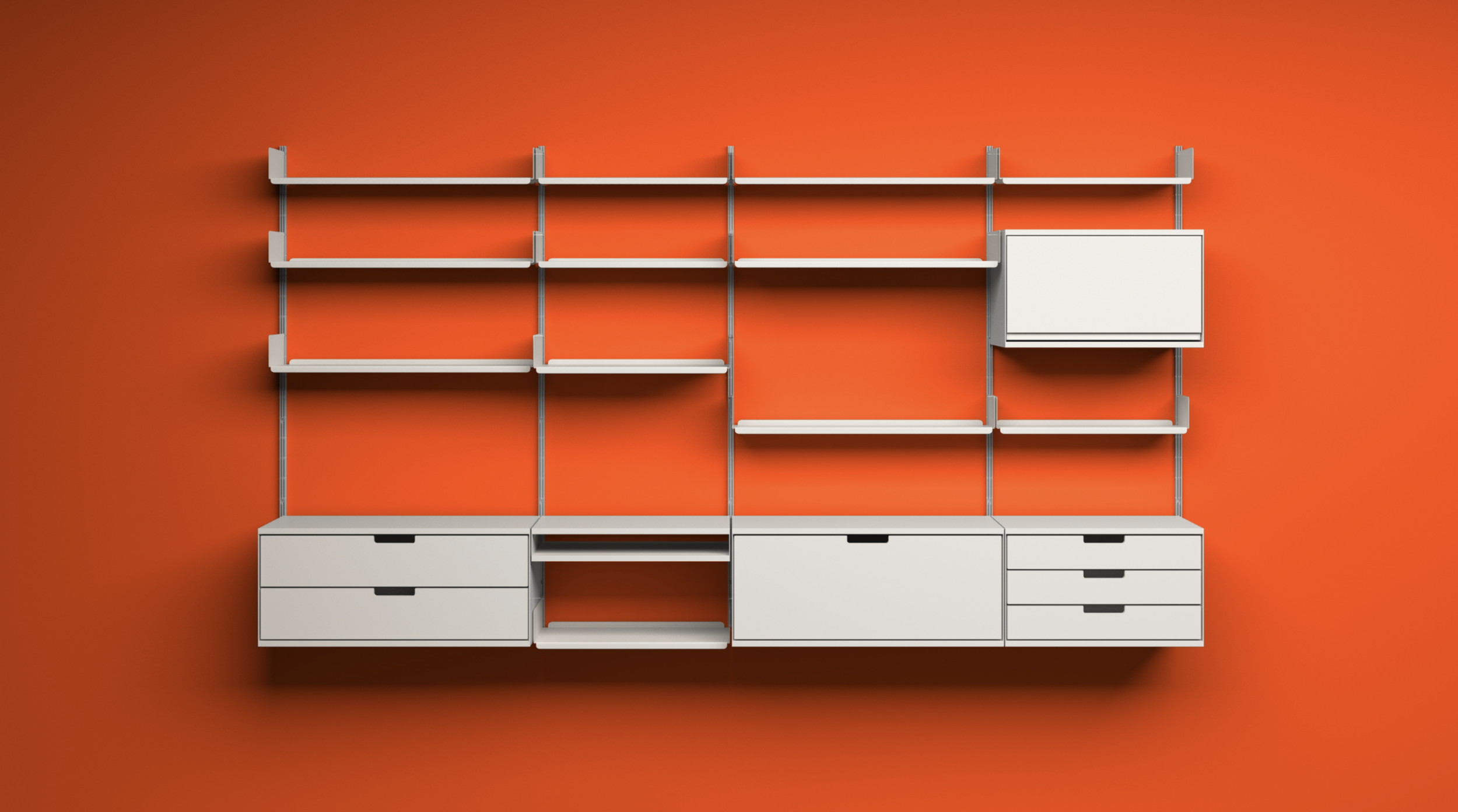 606 Universal Shelving System -  Designed by Dieter Rams in 1960 and made by Vitsœ ever since.