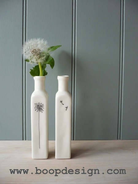 Boop Design 'tall thin bottle vase' - dandelion and seed