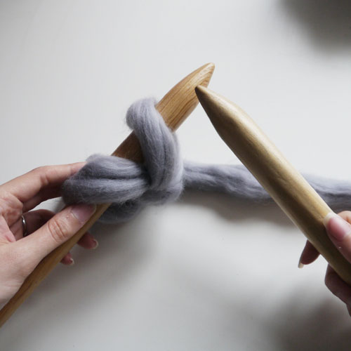 Step 9 - Remove your right hand needle by pulling it towards you and out of the loop of yarn, repeat from step 4 until you have the desired number of stitches.