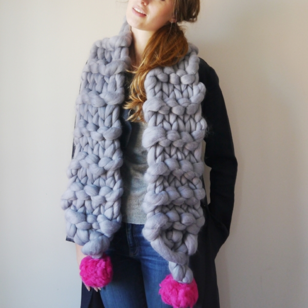 Lauren Aston Designs Super Chunky Scarf with Pom Poms
