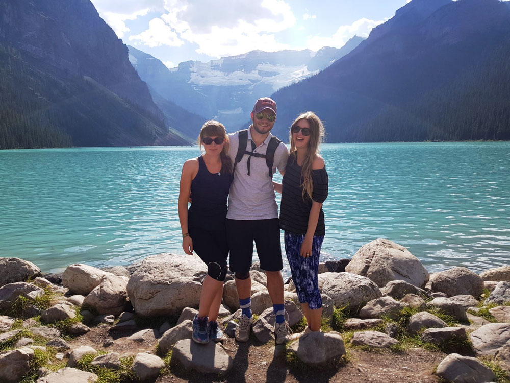 The Team at the bottom of Lake Louise (post Hike)