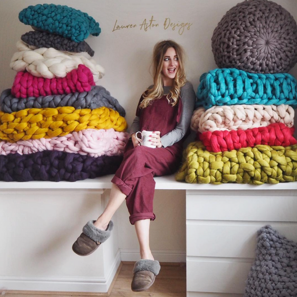 Black Friday sale chunky knit blankets Lauren Aston Designs